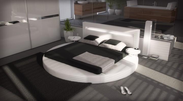 polsterbett sanctuary mit licht 200x220 weiss 200 x 220. Black Bedroom Furniture Sets. Home Design Ideas