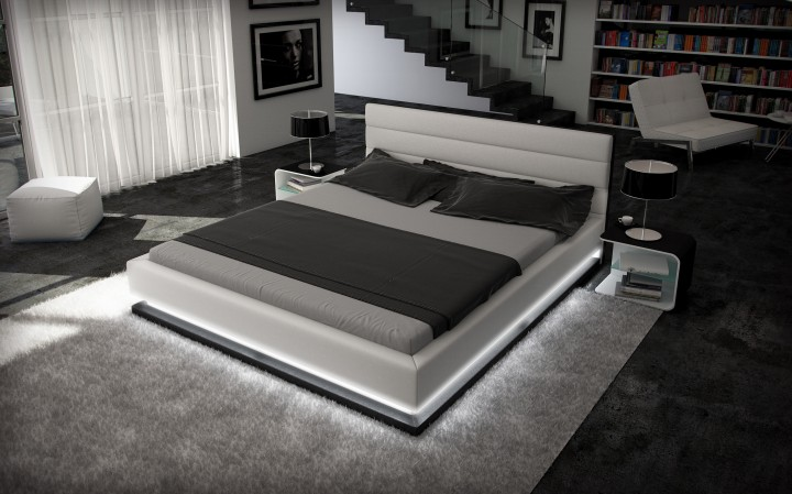 polsterbett ripani 200x220 schwarz 200 x 220 cm wasserbetten rahmen offizielle hersteller. Black Bedroom Furniture Sets. Home Design Ideas