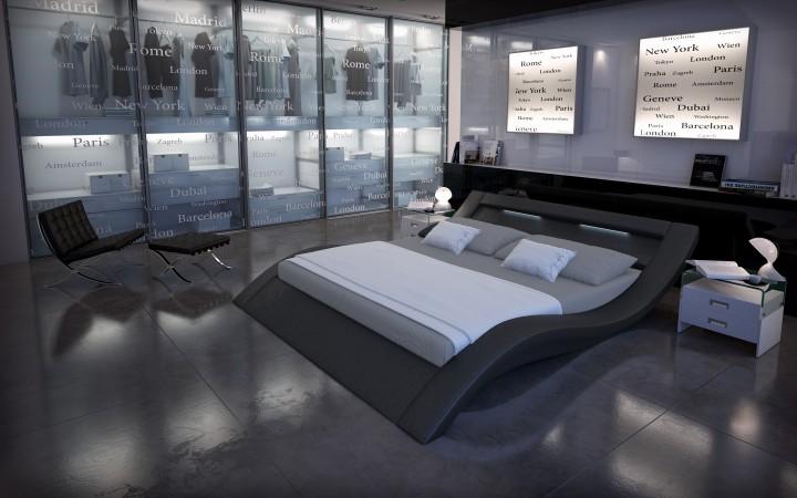 polsterbett look mit licht 180x200 schwarz 180 x 200 cm. Black Bedroom Furniture Sets. Home Design Ideas