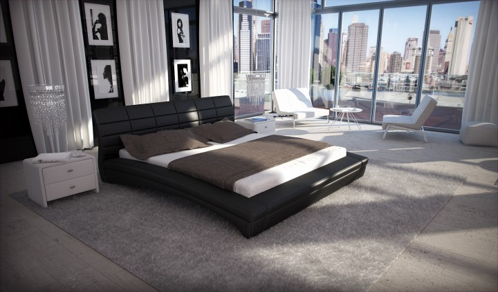 polsterbett purina 200x220 schwarz 200 x 220 cm. Black Bedroom Furniture Sets. Home Design Ideas
