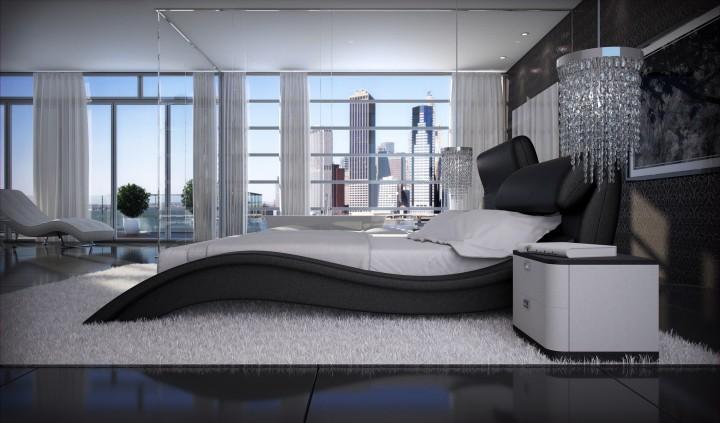 polsterbett allure 200x220 schwarz 200 x 220 cm wasserbetten rahmen offizielle hersteller. Black Bedroom Furniture Sets. Home Design Ideas