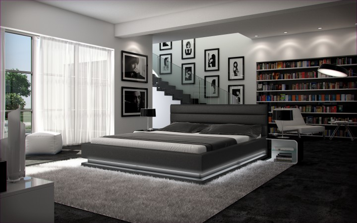 polsterbett ripani 200x220 schwarz 200 x 220 cm. Black Bedroom Furniture Sets. Home Design Ideas
